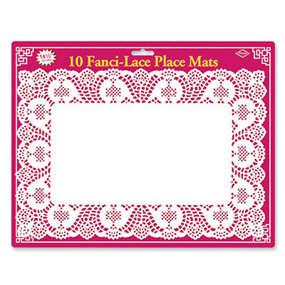 Beistle 50540-WPM Fanci-Lace White Bond Placemats 10
