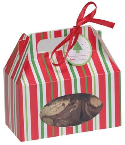 Creative Converting 060216 Cookie Box with Carry Handle, Red and Green Stripes