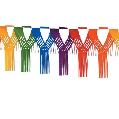 Beistle 55523-RB 12' Rainbow Drop Fringe Garland