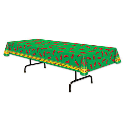 Beistle 57301 4.5' x 9' Chili Pepper Table Cover
