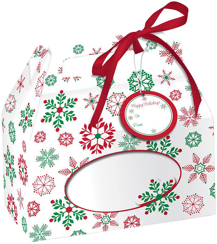Creative Converting 082203 Pastry Box with Carry Handle, Snowflakes