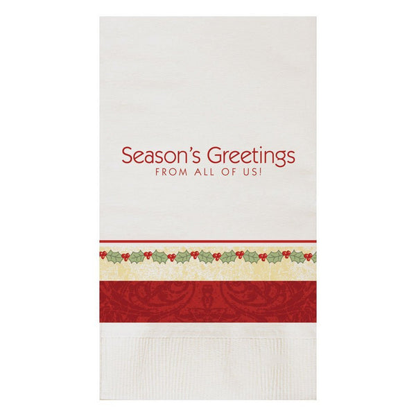 Hoffmaster 831210 15X17 2 Ply Seasons Greetings Dinner Napkins