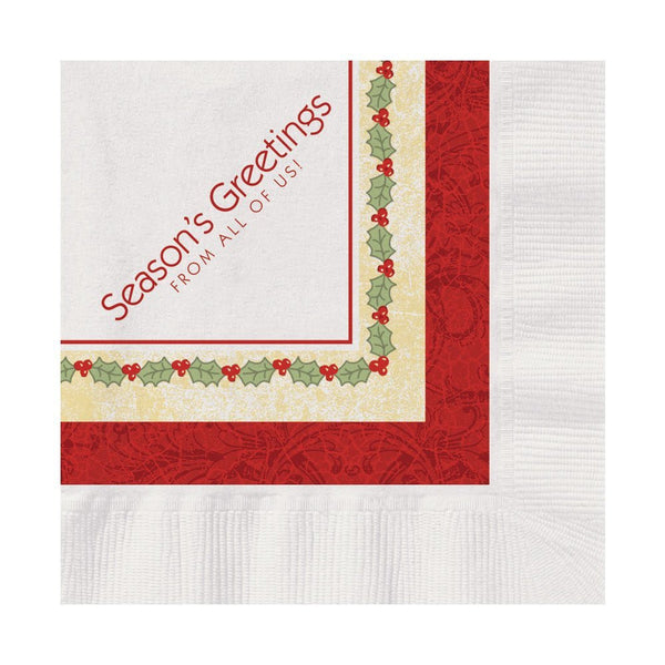 Hoffmaster 831329 10x10 Seasons Greetings Beverage Napkins