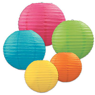 Beistle 54557 5-Pack Assorted Color Paper Lanterns