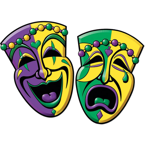 Beistle 55064 Comedy & Tragedy Face Cutouts 2/Pack