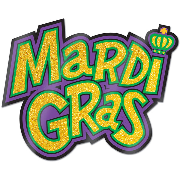 Beistle 55317 Mardi Gras Sign Glittered