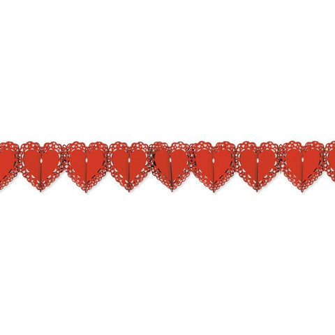 Beistle 70590-R Red Lace Heart Garland