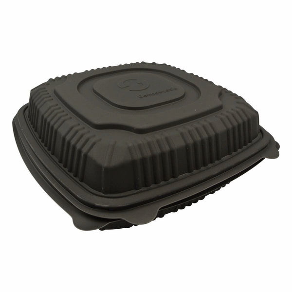 Greenwave 8 x 8 Black Hinged Carryout Container 200/Cs