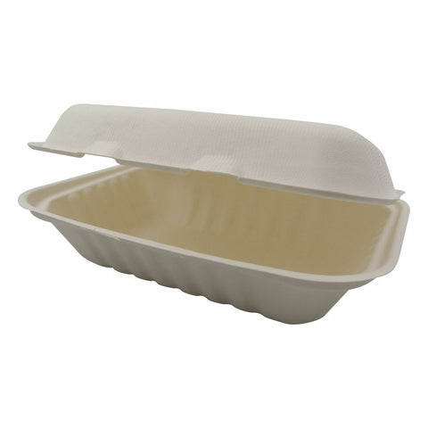 Compostable White 9x6x3 Carryout Container 300/Case