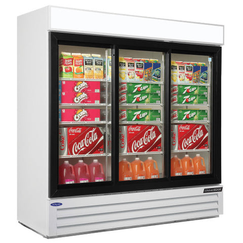 Nor-Lake NLGRP74-SL-W 3 Glass Slide Door Refrigerator Merchandiser