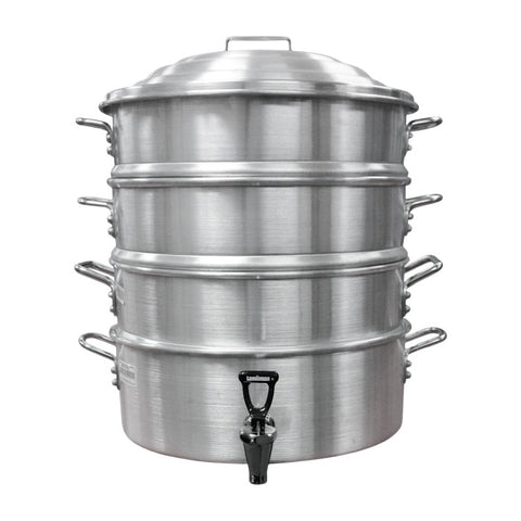 18-Inch, 3-Tier Aluminum Steamer with Lid and Baskets
