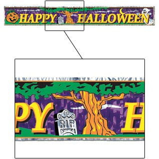 8' x 5' Metallic Halloween Banner