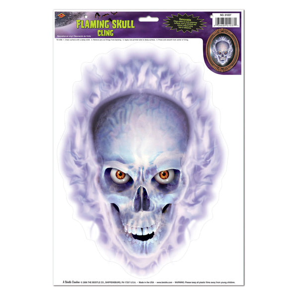 Beistle 01037 Flaming Skull Cling