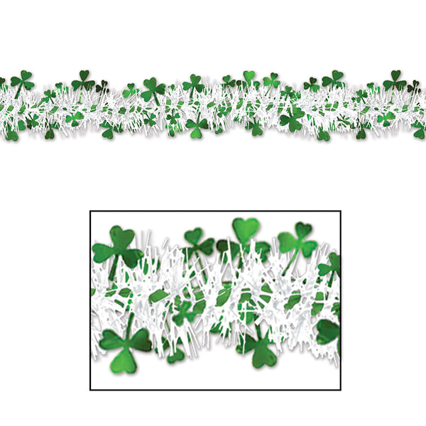 Beistle 30300 12' Metallic Shamrock Garland