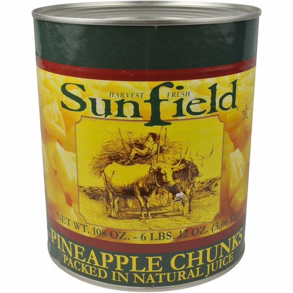 Sunfield 4031 Pineapple Chunk in Natural Juice 106 oz (#10 Can)