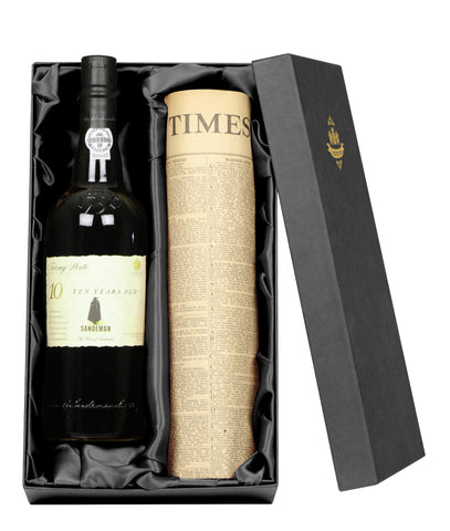 10 Year Old Tawny Port with Special Date Original Newspaper Giftpack