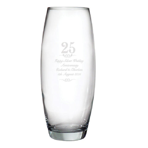 Engraved 25th Wedding Anniversary Bullet Vase - Harringtons