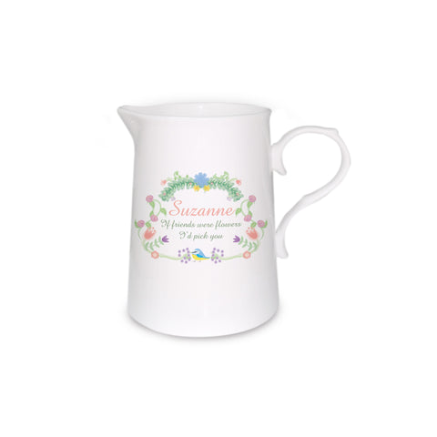 Bone China Personalised Spring Garden Farmhouse Jug
