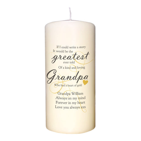 Greatest Story Ever Told Personalised Memorial Candle - Harringtons