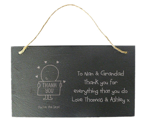 Personalised Slate Hanging Thank You Sign