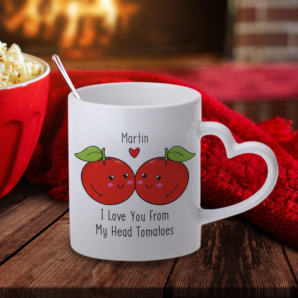From My Head Tomatoes Personalised Heart Handle Mug