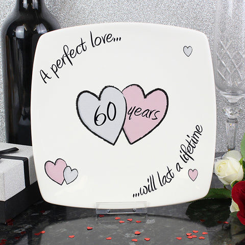 A Perfect Love Diamond Wedding Anniversary Bone China Keepsake Plate