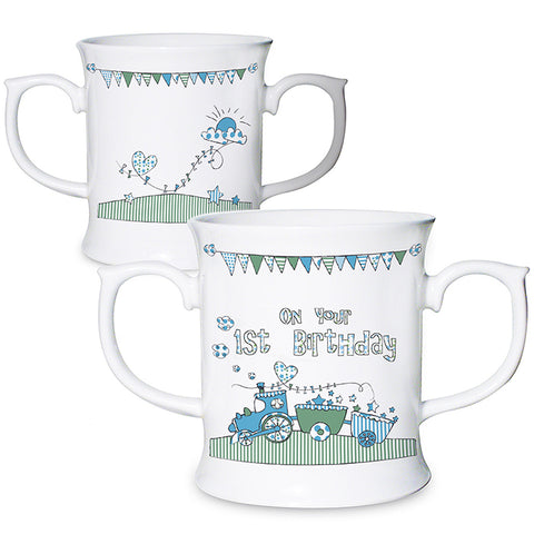Blue & White 1st Birthday Bone China Loving Mug