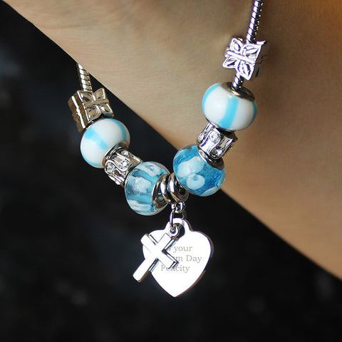 Cross & Valentine Heart Charm Personalised Bracelet - Harringtons