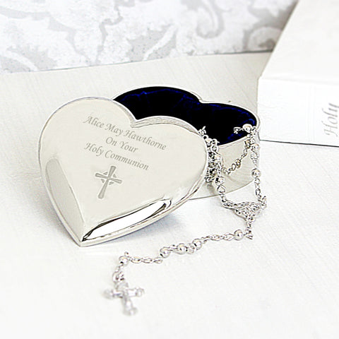 Holy Communion Rosary In Personalised Heart Shaped Trinket Pot