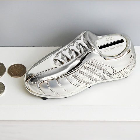 Football Boot Personalised Silver Plated Money Box