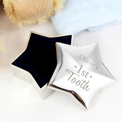 1st Tooth Star Shaped Personalised Trinket Box