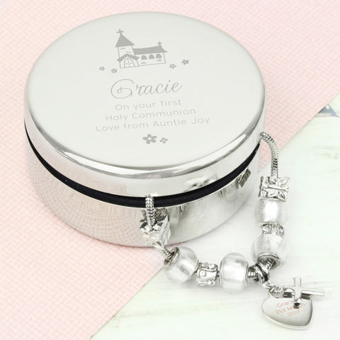 Engraved Holy Communion Trinket Box With Ice White Cross Charm Bracelet