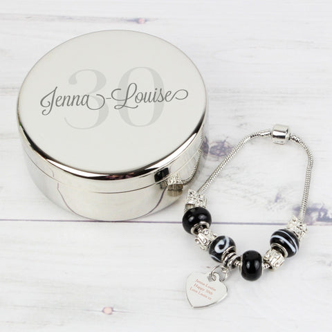 Birthday Age Personalised Trinket Box & Galaxy Heart Charm Bracelet Set