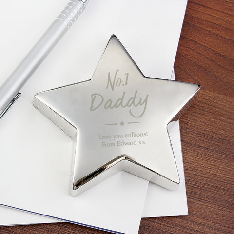 No.1 Daddy Personalised Star Paperweight