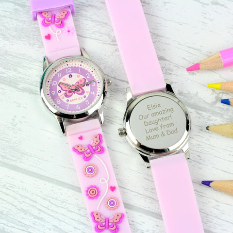 Personalised Kids Pink Time Teacher Butterfly Watch with Presentation Box