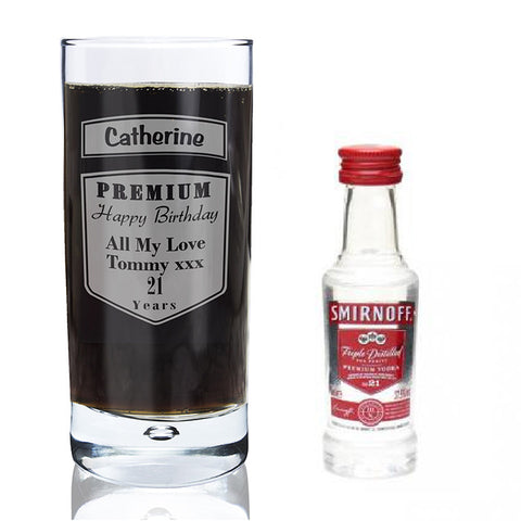 Personalised Premium Hi Ball Glass & Miniature Vodka Gift Set
