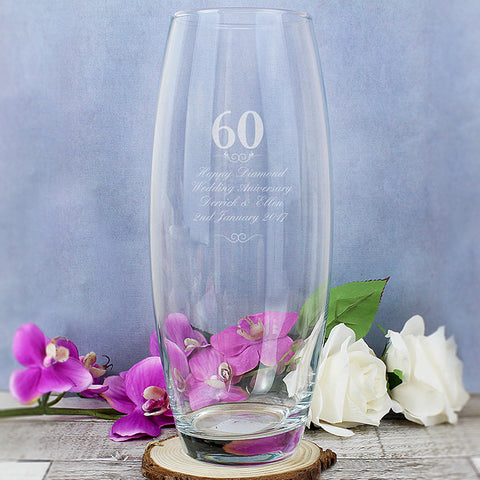 Diamond Wedding Anniversary Personalised Bullet Vase
