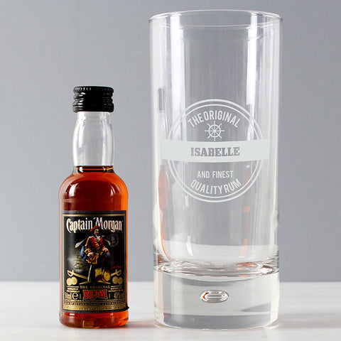 Personalised Hi Ball Glass & Miniature Rum Gift Set