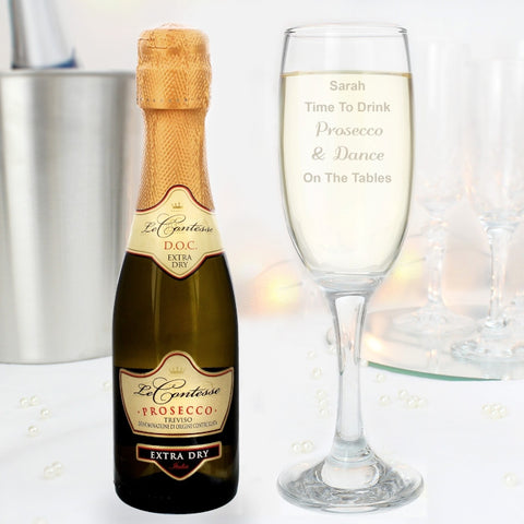 Personalised Glass Flute & Mini Prosecco Gift Set