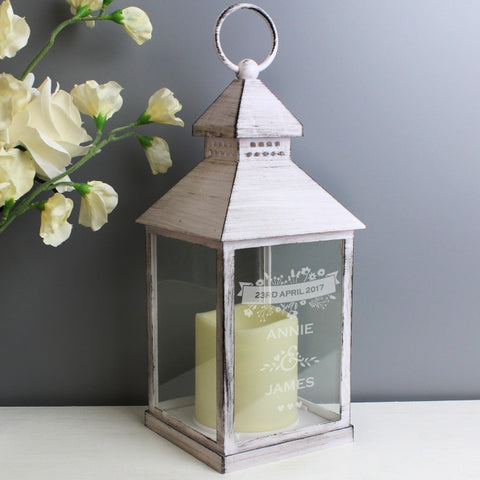 Couple's Floral Rustic White Personalised Lantern