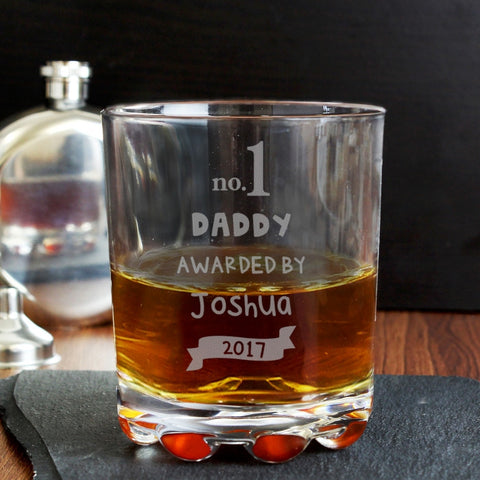 No. 1 Daddy Personalised Glass Tumbler