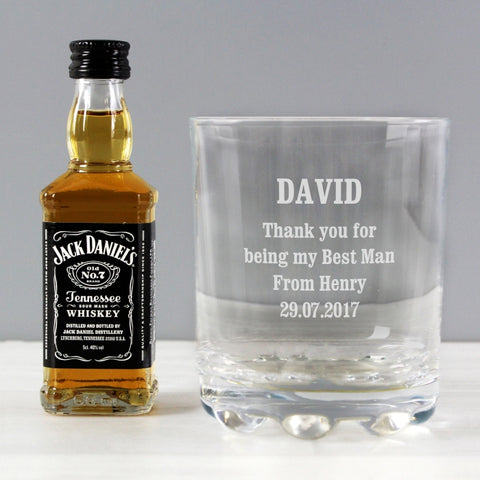 Personalised Glass Tumbler and Jack Daniels Miniature Set