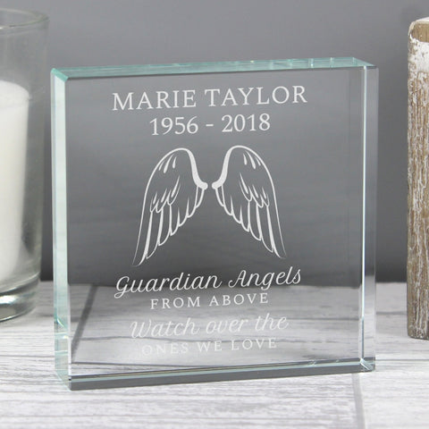 Angel Wings Large Personalised Crystal Token
