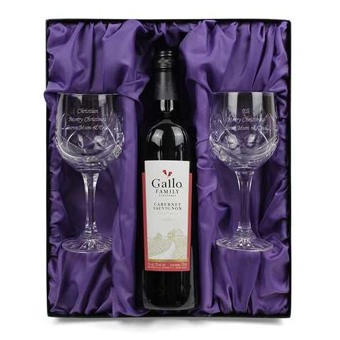 Personalised Crystal Wine Glasses & Red Wine Gift Set