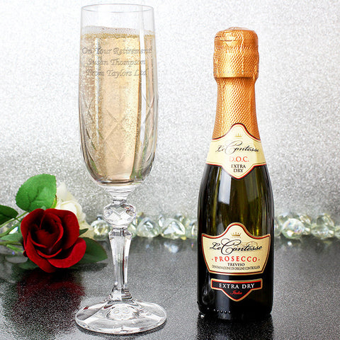 Personalised Crystal Flute and Miniature Prosecco Gift Set