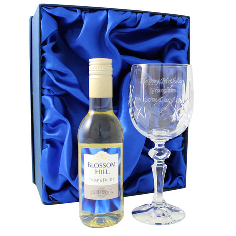 Personalised Crystal Goblet & White Wine Gift Set