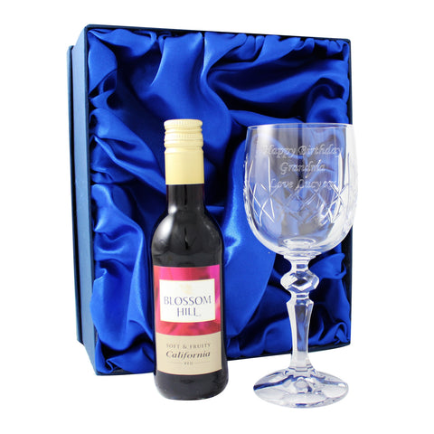Personalised Crystal Goblet & Red Wine Gift Set
