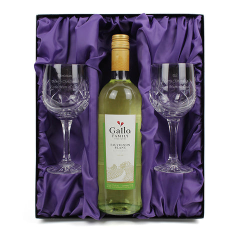 Personalised Crystal Wine Glasses & White Wine Gift Set