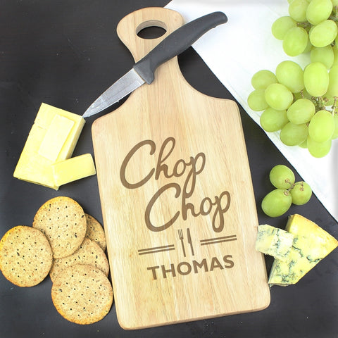 'Chop Chop' Large Personalised Paddle Chopping Board