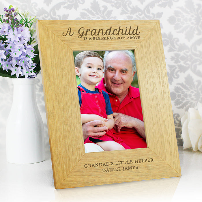 A Grandchild Is A Blessing Oak Veneer 4x6 Photo Frame
